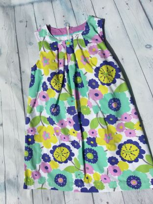 Mini Boden multi-coloured floral lined dress age 6-7